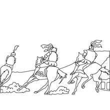Dibujo de una carrera de caballeros para colorear - Dibujos para Colorear y Pintar - Dibujos para colorear de FANTASIA - Dibujos para colorear CABALLEROS - Dibujos para colorear TORNEO CABALLEROS MEDIEVALES