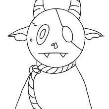 Dibujo para colorear : un monstruo animal de halloween