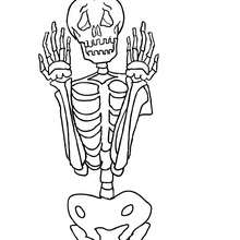 Dibujo para colorear : un esqueleto espantoso para halloween