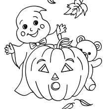 Dibujo para colorear : fantasma de halloween jugando