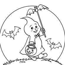 Dibujo para colorear : fantasma de halloween al anochecer