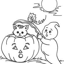 Dibujo para colorear : fantasma con su amigos de halloween