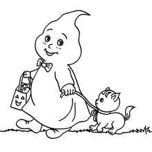Dibujo para colorear fantasma de halloween con su gato - Dibujos para Colorear y Pintar - Dibujos para colorear FIESTAS - Dibujos para colorear HALLOWEEN - Dibujos para colorear FANTASMAS HALLOWEEN