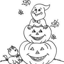 Dibujo para colorear : un amomtonamiento de calabazas de halloween
