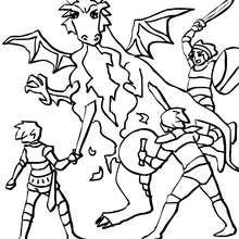 Dibujo para colorear : dragon atacado por caballeros