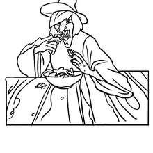 dibujo de una bruja comiendo cucarachas para colorear - Dibujos para Colorear y Pintar - Dibujos para colorear FIESTAS - Dibujos para colorear HALLOWEEN - Dibujos de BRUJAS para colorear - Dibujos de BRUJAS FEAS para colorear