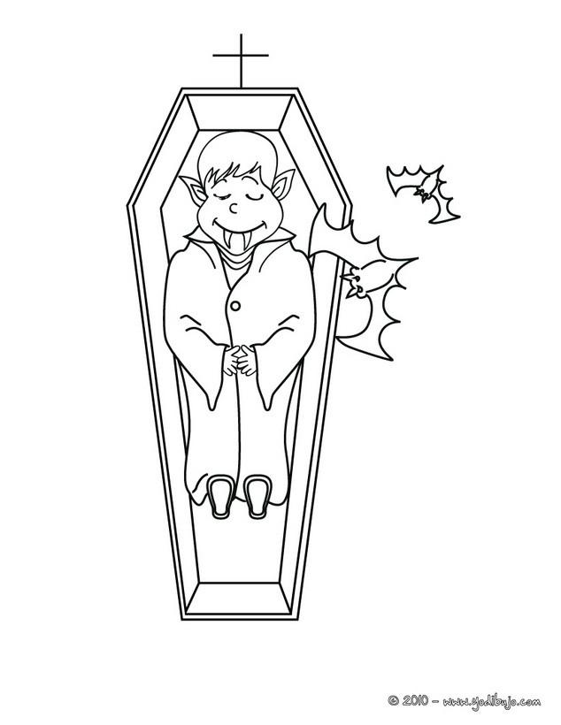 Dibujo para colorear : vampiro en un ataud