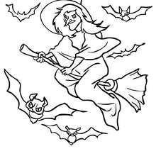 Dibujo para colorear : Vuelo de bruja y murciélagos