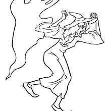 Dibujo para colorear : una bruja con un fantasma  halloween
