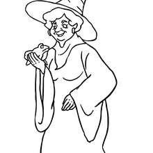 Dibujo de una vieja bruja con una rana para colorear - Dibujos para Colorear y Pintar - Dibujos para colorear FIESTAS - Dibujos para colorear HALLOWEEN - Dibujos de BRUJAS para colorear - Dibujo BRUJAS HALLOWEEN para colorear