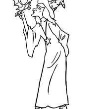Dibujo de una bruja besando un murcielago para colorear - Dibujos para Colorear y Pintar - Dibujos para colorear FIESTAS - Dibujos para colorear HALLOWEEN - Dibujos de BRUJAS para colorear - Dibujos de BRUJAS FEAS para colorear