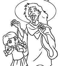 Dibujo de una bruja con una niña para colorear - Dibujos para Colorear y Pintar - Dibujos para colorear FIESTAS - Dibujos para colorear HALLOWEEN - Dibujos de BRUJAS para colorear - Dibujos de BRUJAS FEAS para colorear