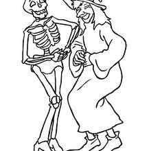 Dibujo de una bruja con un esqueleto de halloween para colorear - Dibujos para Colorear y Pintar - Dibujos para colorear FIESTAS - Dibujos para colorear HALLOWEEN - Dibujos de BRUJAS para colorear - Dibujo BRUJAS HALLOWEEN para colorear