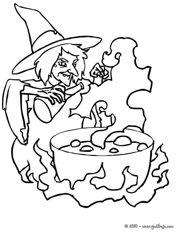 Bruja zombí Dibujo de la pocima magica de la bruja de halloween para colorear , Dibujos para Colorear