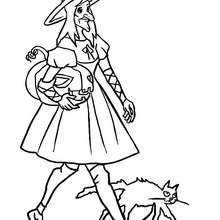 Dibujo de una bruja con su gato y calabaza de halloween para colorear - Dibujos para Colorear y Pintar - Dibujos para colorear FIESTAS - Dibujos para colorear HALLOWEEN - Dibujos de BRUJAS para colorear - Dibujos para colorear ONLINE BRUJAS