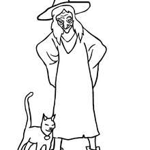 dibujo de gato negro y bruja para colorear - Dibujos para Colorear y Pintar - Dibujos para colorear FIESTAS - Dibujos para colorear HALLOWEEN - Dibujos de BRUJAS para colorear - Dibujos de BRUJAS FEAS para colorear
