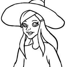 Dibujo de retrato hermosa bruja de halloween para colorear - Dibujos para Colorear y Pintar - Dibujos para colorear FIESTAS - Dibujos para colorear HALLOWEEN - Dibujos de BRUJAS para colorear - Dibujos RETRATO DE BRUJA para colorear