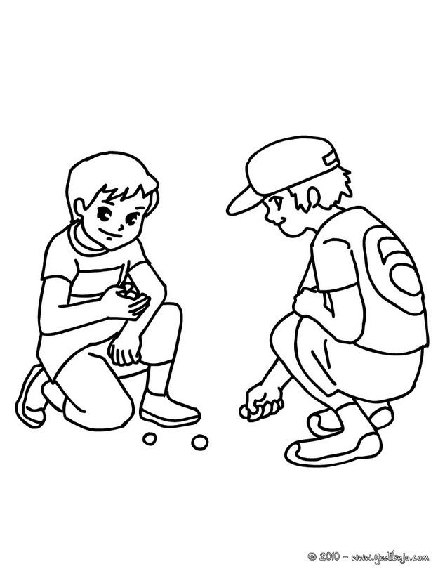 Dibujos para colorear niños jugando a las canicas - es.hellokids.com