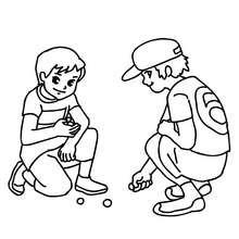 Dibujo para colorear niños jugando a las canicas - Dibujos para Colorear y Pintar - Dibujos para colorear de la ESCUELA - Dibujo para colorear PATIO DE RECREO