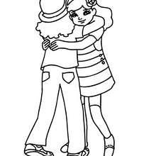 Dibujo para colorear amigas en el patio de recreo - Dibujos para Colorear y Pintar - Dibujos para colorear de la ESCUELA - Dibujo para colorear PATIO DE RECREO