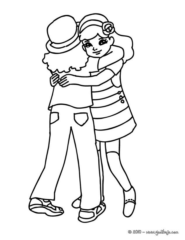 Dibujos para colorear amigas en el patio de recreo - es.hellokids.com