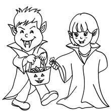 Dibujo disfraces vampiros para colorear halloween - Dibujos para Colorear y Pintar - Dibujos para colorear FIESTAS - Dibujos para colorear HALLOWEEN - Dibujos para colorear DISFRACES HALLOWEEN NIÑOS