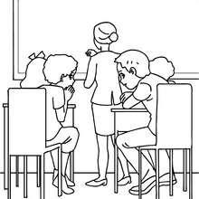 Dibujos para colorear alumnos murmurando - Dibujos para Colorear y Pintar - Dibujos para colorear de la ESCUELA - Dibujos para colorear MAESTROS y ALUMNOS a la escuela