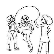 Dibujo para colorear niñas saltando a la cuerda - Dibujos para Colorear y Pintar - Dibujos para colorear de la ESCUELA - Dibujo para colorear PATIO DE RECREO