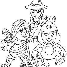 Dibujo para colorear niños disfrazados para halloween - Dibujos para Colorear y Pintar - Dibujos para colorear FIESTAS - Dibujos para colorear HALLOWEEN - Dibujos para colorear DISFRACES HALLOWEEN NIÑOS