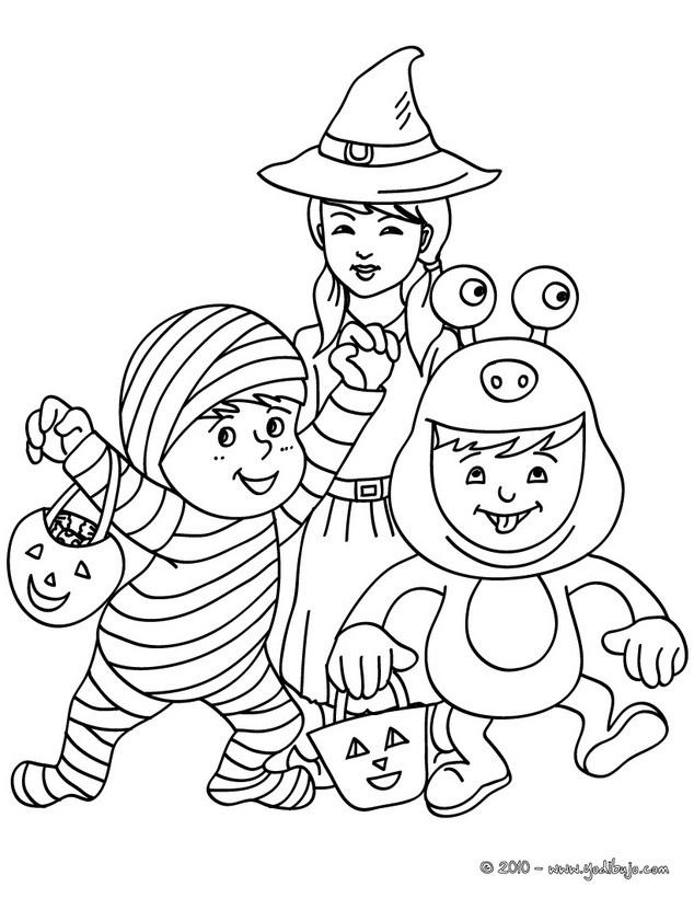 Lujoso Niño Pequeño Halloween Para Colorear Imprimible Ilustración ...
