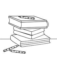 Dibujo para colorear libros de la escuela - Dibujos para Colorear y Pintar - Dibujos para colorear de la ESCUELA - Dibujos para colorear MATERIAL ESCOLAR