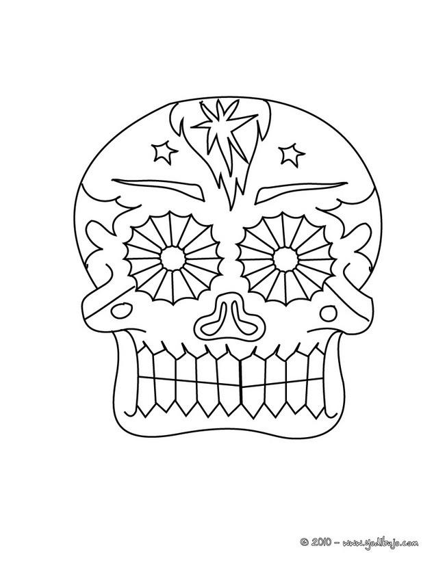 catrina y un esqueleto bailando Dibujo para colorear  una calavera decorada del dia de los muertos