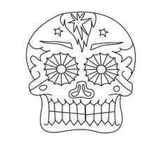 Dibujo para colorear : una calavera decorada del dia de los muertos