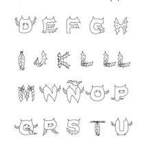 Dibujo para colorear : abecedario murcielago halloween