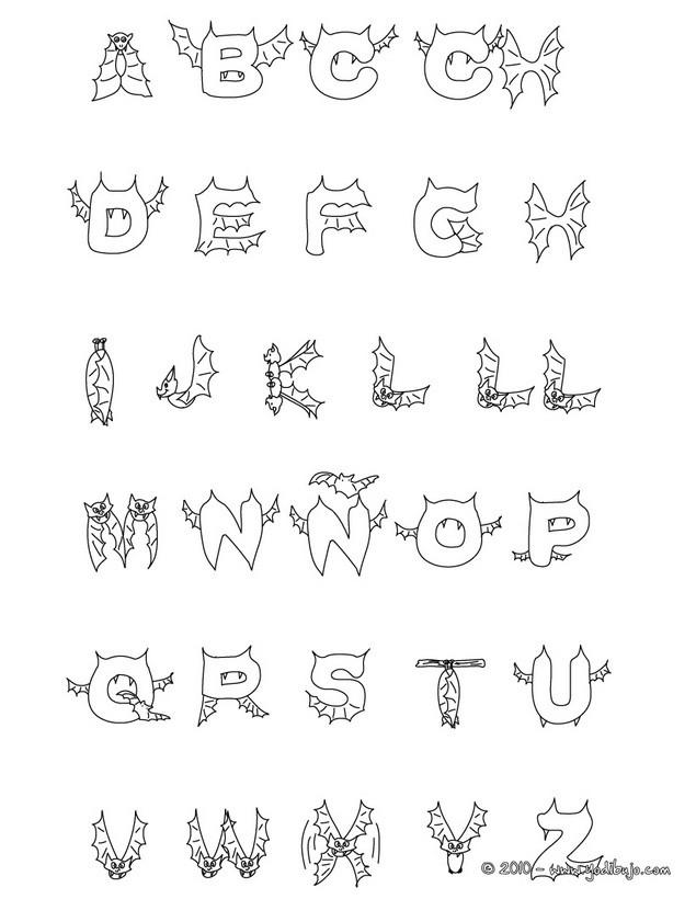 Dibujos para colorear abecedario murcielago halloween - es.hellokids.com
