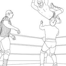 Dibujo para colorear : luchadores lanzandose a la lucha