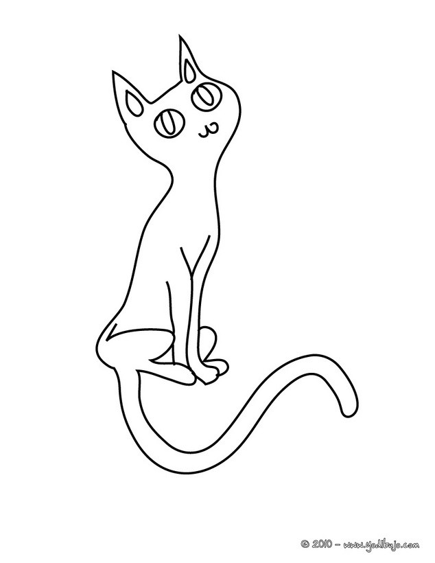 Dibujos para colorear un gato negro de halloween - es.hellokids.com