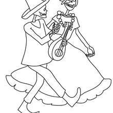 Dibujo para colorear : catrina y un esqueleto bailando