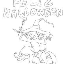 Dibujo para colorear : cartel bruja feliz halloween