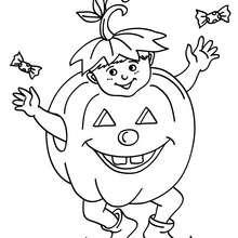 Dibujo para colorear : disfraz halloween calabaza