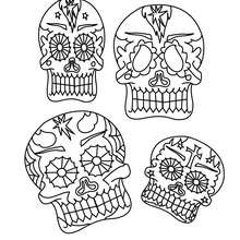 Dibujo para colorear : calaveras del dia de los muertos