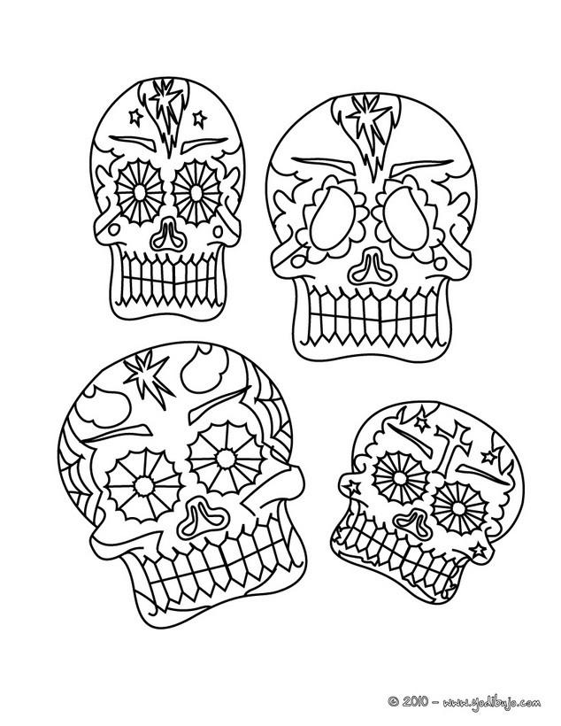 Dibujo para colorear  calaveras del dia de los muertos