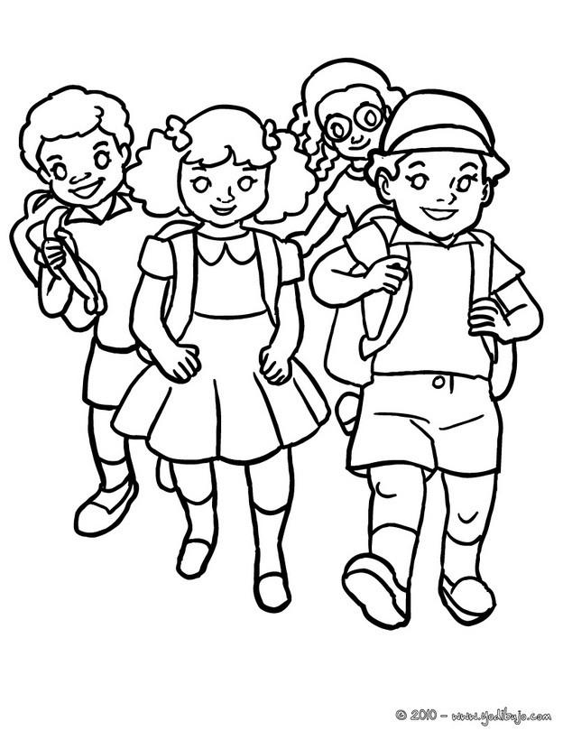 Dibujos para colorear un autobus escolar con alumnos - es.hellokids.com