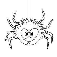 Dibujo para colorear : una araña chistosa para halloween