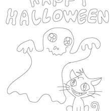 Dibujo cartel Happy Halloween para colorear - Dibujos para Colorear y Pintar - Dibujos para colorear FIESTAS - Dibujos para colorear HALLOWEEN - Dibujos para colorear FELIZ HALLOWEEN