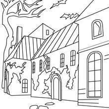 Dibujo para colorear una casa encantada de halloween - Dibujos para Colorear y Pintar - Dibujos para colorear FIESTAS - Dibujos para colorear HALLOWEEN - Dibujos para colorear CASA ENCANTADA