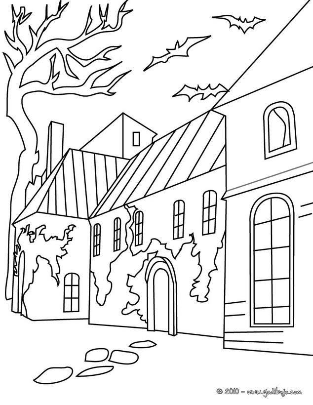 Dibujo para colorear : una casa encantada de halloween