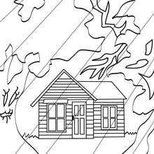 Dibujo para colorear : una casa encantada con lluvia