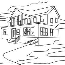Dibujo para colorear : una casa encantada grande