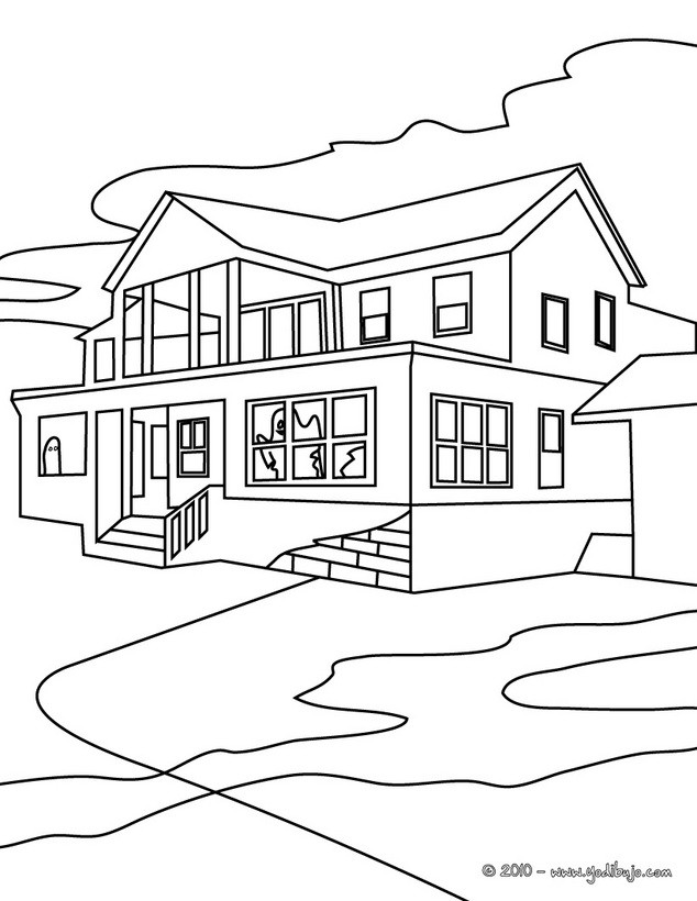 para colorear una casa encantada grande - Dibujos para colorear CASA ...